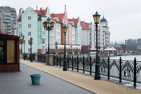 ethnographic: KALININGRAD, RUSSIA - FEB 10, 2015: Ethnographic and trade center, embankment of the Fishing Village. Editorial