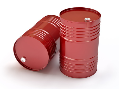 Group of red oil barrels, 3d illustration Stock Photo