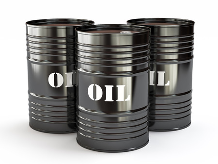 storage container: Group of black oil barrels, 3d illustration Stock Photo