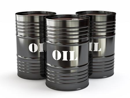 Grupo de barriles de petróleo negro, ilustración 3d