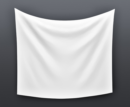 Empty cloth banner. 3d illustration on grey background