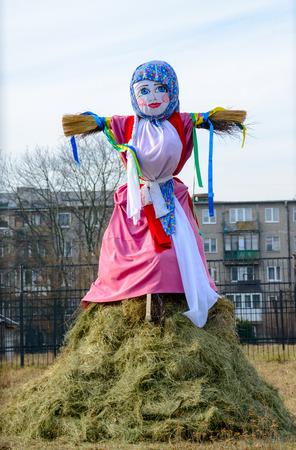 maslenitsa: KALININGRAD, RUSSIA - FEB 21, 2015: Russian people celebrates Shrovetide. Maslenitsa or Wide Pancake Week is the Slavic Holiday