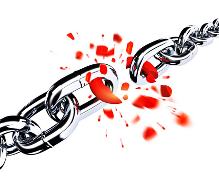 break chain: Broken chain Stock Photo