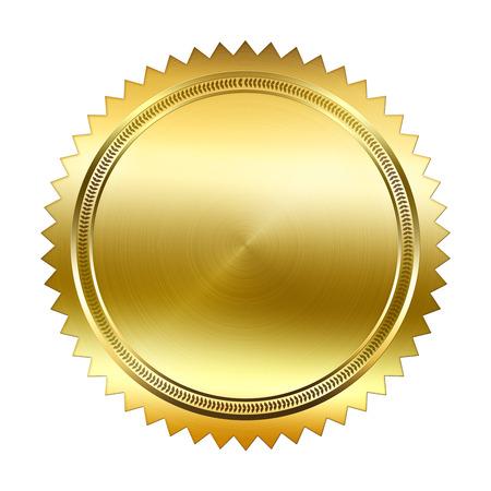 白い背景に分離された黄金のシール