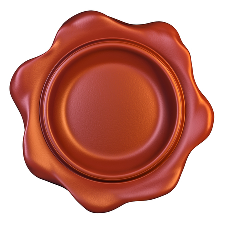 wax glossy: Red seal wax on white background