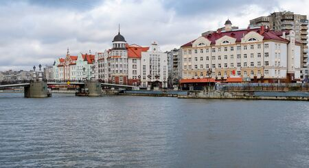 ethnographic: KALININGRAD, RUSSIA - FEB 14, 2015: Ethnographic and trade center, embankment of the Fishing Village. Editorial