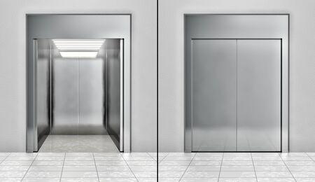 lift gate: Modern elevator set Stock Photo
