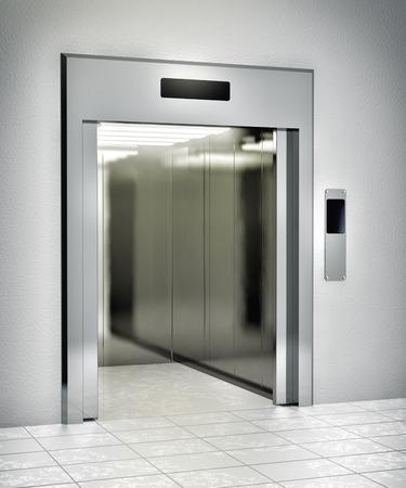 Modern elevator with opened door photo