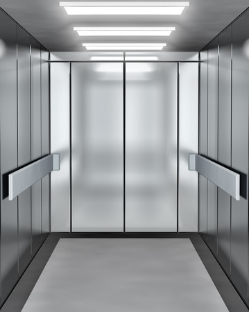 puerta: Elevador moderno con la puerta abierta