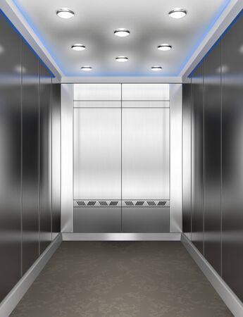 Modern elevator with opened door