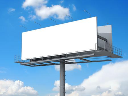 Billboard with empty screen on blue sky Standard-Bild