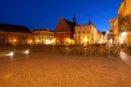 greifswald: GREIFSWALD, GERMANY - APRIL 3, 2015: View of the old part of the city at sunset, Mecklenburg-Vorpommern, Germany