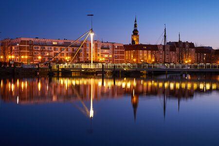 greifswald: Evening harbour on the river Ryck, West Pomerania. Greifswald