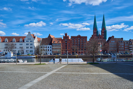 trave: LUBECK, GERMANY - APRIL 5, 2015: Old part of Lubeck, is the second largest city in Schleswig-Holstein, northern Germany.