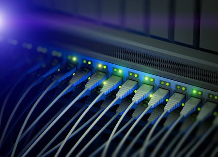 meseros: Interruptor de servidor de red con LED parpadeante Foto de archivo
