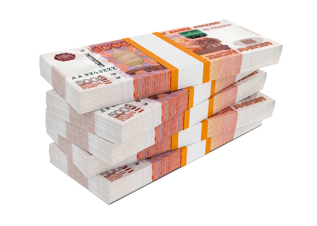 money packs: Russian rubles bills packs on stack Stock Photo