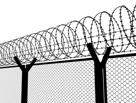 barbed wire fence: Fence with a barbed wire
