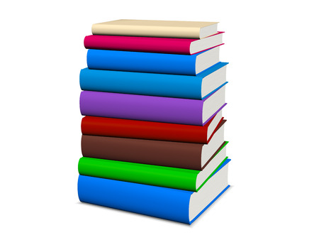stacked: Book stacked on white background with clipping path, illustration