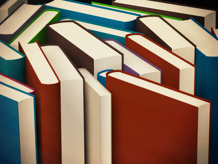 hard cover: Heap of old books in a hard cover with toning, 3d illustration Stock Photo