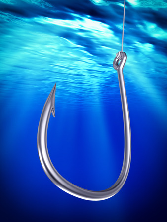 fishhook: Steel fishhook underwater, 3d illustration Stock Photo