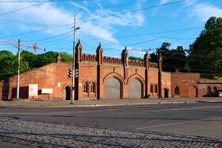 extant: KALININGRAD, RUSSIA - JUNE 7, 2015: Friedland Gate - one of seven extant gate of the city of Kaliningrad earlier Kenigsberg, built in 1857-1862 years, inside placed museum exposition.