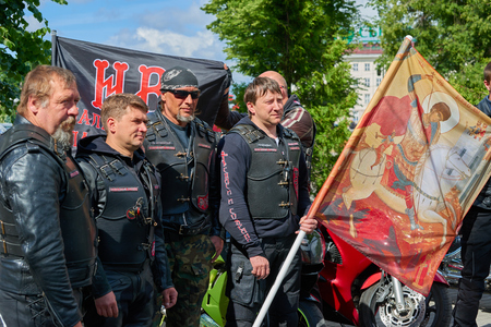 seraphim: KALININGRAD, RUSSIA - JUNE 17, 2015: The Church of Peter and Fevronia. Prayer for the Day of memory and grief, beginning of the Great Patriotic War. First in Kaliningrad procession on motorcycles and priest