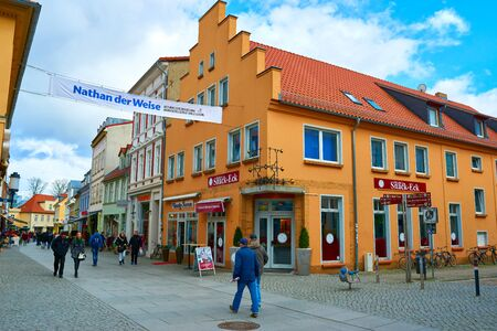 greifswald: GREIFSWALD, GERMANY - APRIL 2, 2015: Streets of historical center, view of the old part of the city, Mecklenburg-Vorpommern, Germany Editorial