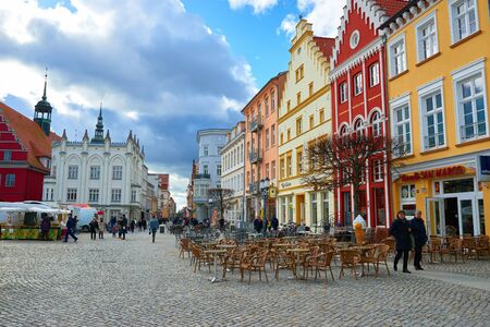 western town: GREIFSWALD, GERMANY - APRIL 2, 2015: Streets of historical center, view of the old part of the city, Mecklenburg-Vorpommern, Germany Editorial