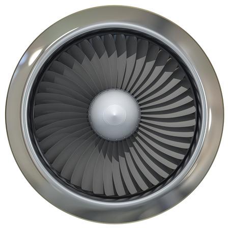 turbojet: Jet engine, turbine blades of airplane, 3d illustration