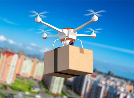 Quadrocopter with cardboard package, 3d illustration