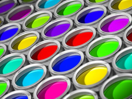 paint cans: Colorful paint cans - 3d illustration, whole screen Stock Photo