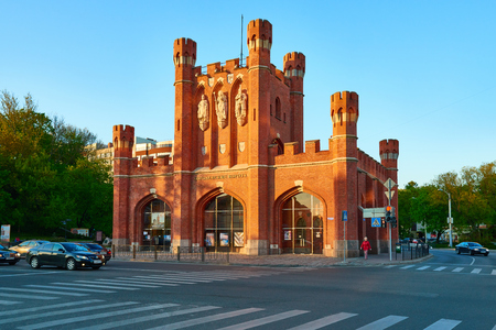 surviving: KALININGRAD, RUSSIA - MAY 11, 2015: Kings Gate - is one of the seven surviving city gates, in the gates placing Historical and cultural centre Grand Embassy