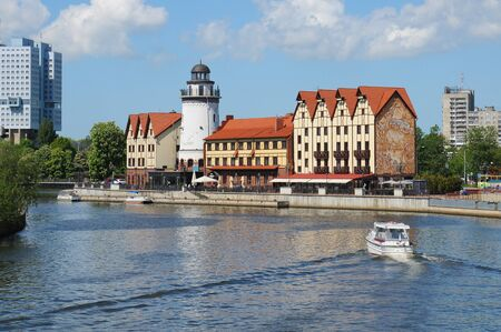 ethnographic: KALININGRAD, RUSSIA - MAY 22, 2015: Ethnographic and trade center, embankment of the Fishing Village. Editorial