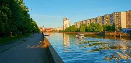 ethnographic: KALININGRAD, RUSSIA - MAY 11, 2015: Ethnographic and trade center, embankment of the Fishing Village.
