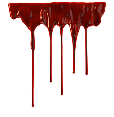 Blood dripping down over white background Stockfoto