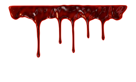 Blood dripping down over white background 写真素材