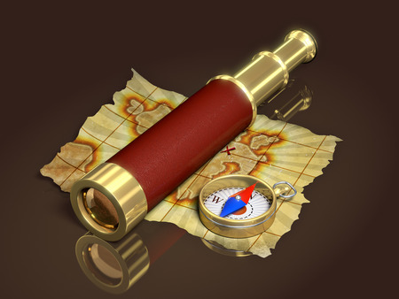 hunt: Compass, spyglass and old map, 3d illustration Stock Photo