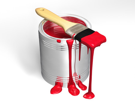 Paint can and paintbrush on white background