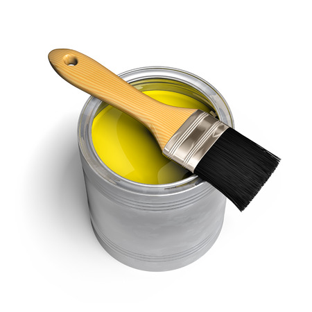 yellow paint: Paint can and paintbrush on white background