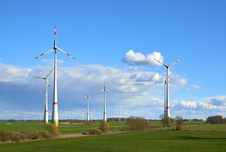 Wind turbines at the field. Eco energy industry