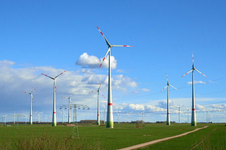energy industry: Wind turbines at the field. Eco energy industry
