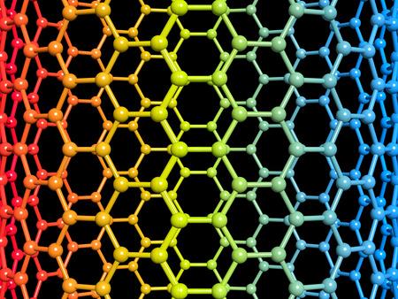Nanotube 3d illustration on black background