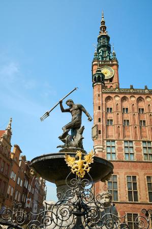 neptun: GDANSK, POLAND - AUGUST 12, 2015: Fountain of the Neptune in old town of Gdansk