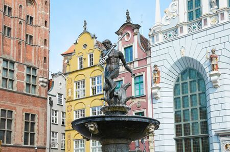 gdansk: GDANSK, POLAND - AUGUST 12, 2015: Fountain of the Neptune in old town of Gdansk
