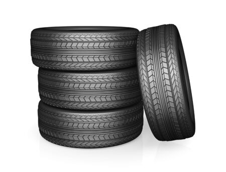 new car: Car tire with protector, isolated on white background Stock Photo