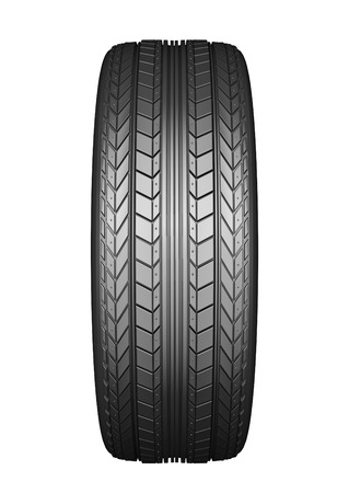 the protector: Car tire with protector, isolated on white background Stock Photo