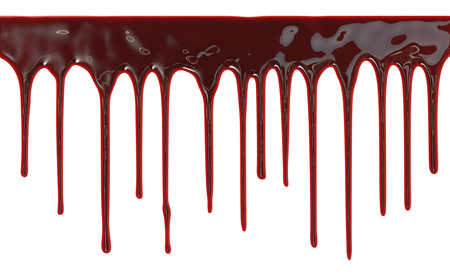 scary halloween: Blood dripping down over white background Stock Photo
