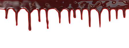 over white background: Blood dripping down over white background Stock Photo