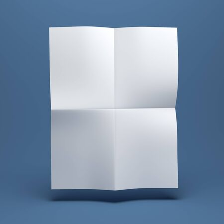 note booklet: White blank paper brochure on blue background