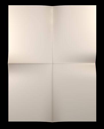 folded: Yellow sheet of paper folded, isolated on black background
